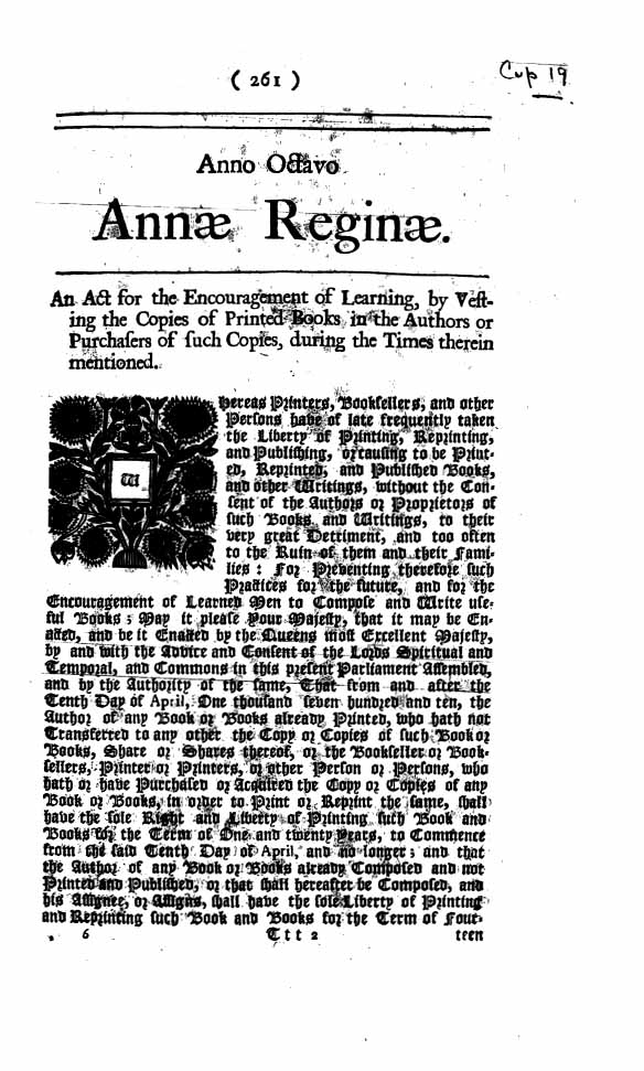 History of Copyright: Statute of Anne, 1710